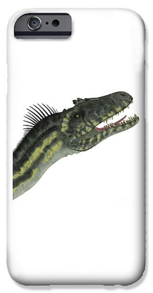 Northern Africa iPhone Cases - Deltadromeus Dinosaur Head iPhone Case by Corey Ford
