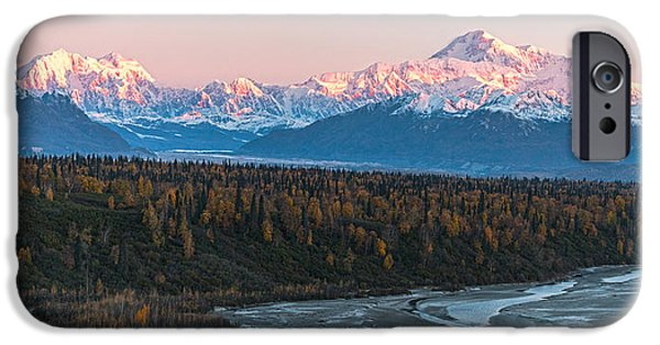 Obama iPhone Cases - Denali Sunrise Alpenglow iPhone Case by Daryll Vispo