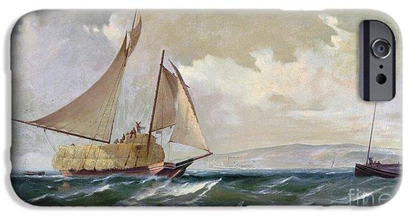 1871 iPhone Cases - Denny: Hay Schooner, 1871 iPhone Case by Granger
