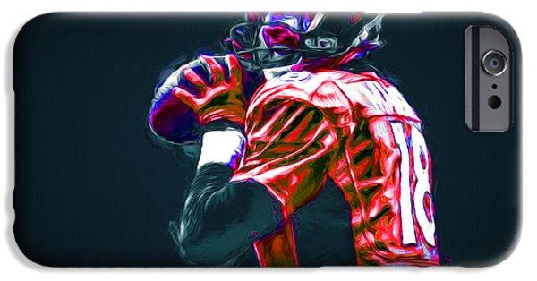Jab iPhone Cases - Denver Broncos Peyton Manning Digitally Painted iPhone Case by David Haskett