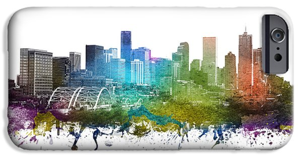 Colorado Drawings iPhone Cases - Denver cityscape 01 iPhone Case by Aged Pixel