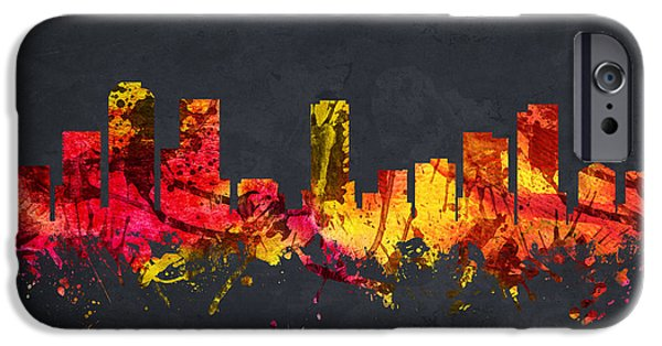 Colorado Drawings iPhone Cases - Denver Cityscape 07 iPhone Case by Aged Pixel