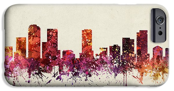 Colorado Drawings iPhone Cases - Denver Cityscape 09 iPhone Case by Aged Pixel