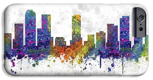Colorado Drawings iPhone Cases - Denver Colorado Skyline Color 03SQ iPhone Case by Aged Pixel