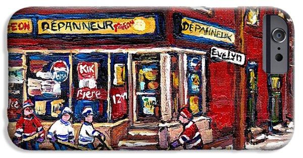 Hockey Paintings iPhone Cases - Depanneur Pigeon Street Hockey Night Scene Winter In The Old Neighborhood Verdun Paintings Best Art iPhone Case by Carole Spandau