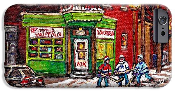 Hockey Paintings iPhone Cases - Depanneur Vautour Winter Night Hockey Game Near Glowing Street Lights St Henri Painting Montreal Art iPhone Case by Carole Spandau