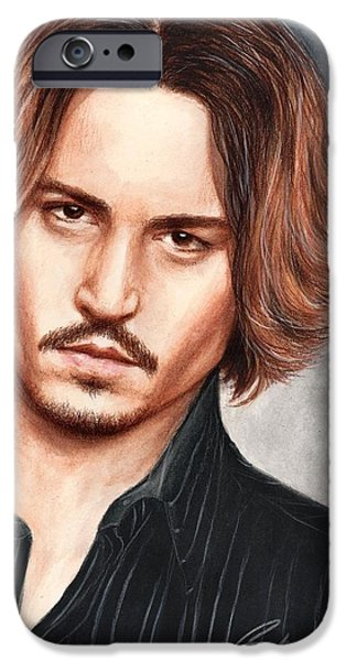 Celebrities Art Drawings iPhone Cases - Depp iPhone Case by Bruce Lennon