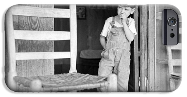 Arkansas iPhone Cases - Boy on Front Porch in Ozark Mountains iPhone Case by Jim Cox