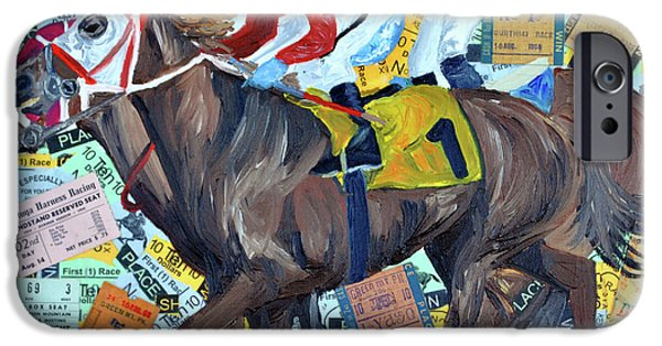 Horse Racing Mixed Media iPhone Cases - Derby Tickets iPhone Case by Michael Lee