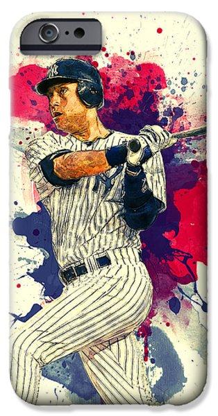 Baseball Glove Paintings iPhone Cases - Derek Jeter iPhone Case by Taylan Soyturk