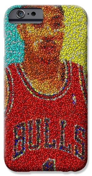 Chicago Bulls Mixed Media iPhone Cases - Derrick Rose Skittles Mosaic iPhone Case by Paul Van Scott