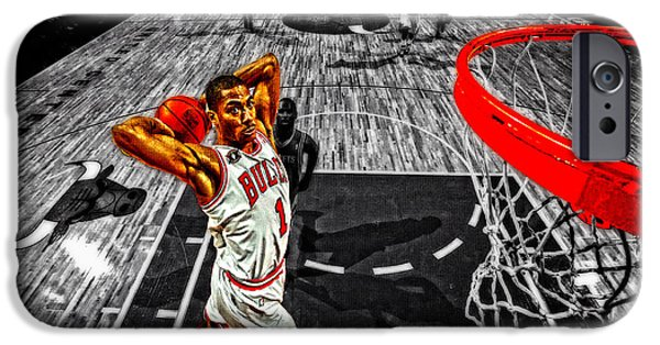 Derrick Rose iPhone Cases - Derrick Rose Taking Flight iPhone Case by Brian Reaves