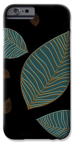 Abstract Digital Drawings iPhone Cases - Descending Leaves iPhone Case by Kandy Hurley