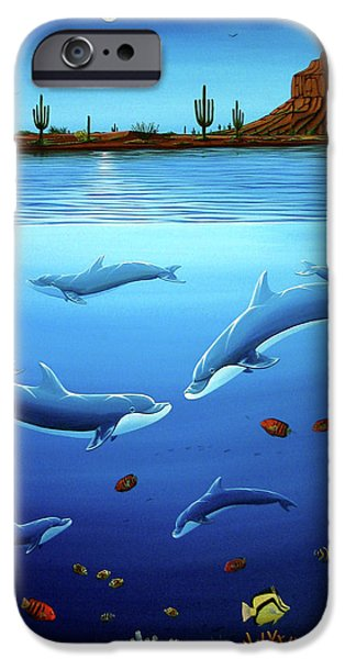 Desert Dolphins Close  iPhone Case by Lance Headlee
