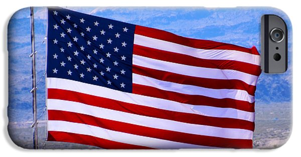 Old Glory Paintings iPhone Cases - Desert Patriot American Flag iPhone Case by Barbara Snyder