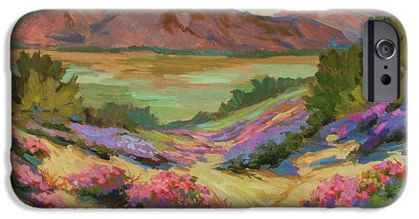 Dark Sky iPhone Cases - Desert Verbena at Borrego Springs iPhone Case by Diane McClary