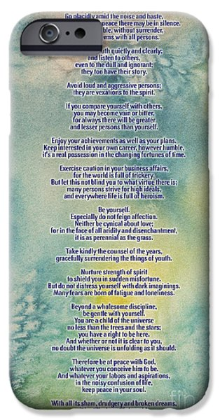 Pearls Of Wisdom iPhone Cases - DESIDERATA Pearls Of Wisdom iPhone Case by  Adam Asar
