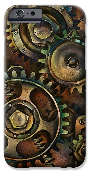 Industrial Paintings iPhone Cases - Design 3 iPhone Case by Michael Lang