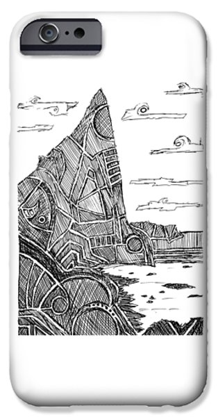 Abstract Beach Landscape Drawings iPhone Cases - Desolation Island iPhone Case by Hinterlund