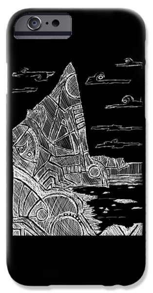 Abstract Beach Landscape Drawings iPhone Cases - Desolation Island - White iPhone Case by Hinterlund