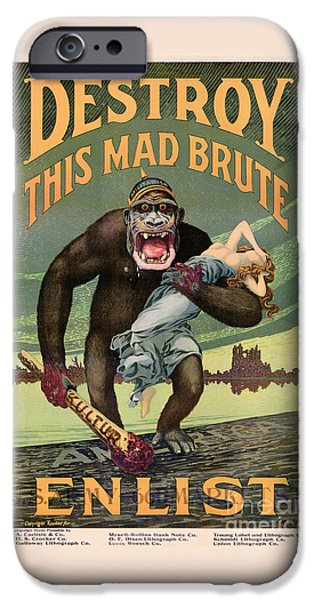 Wwi iPhone Cases - Destroy This Mad Brute - Restored Vintage Poster iPhone Case by Carsten Reisinger