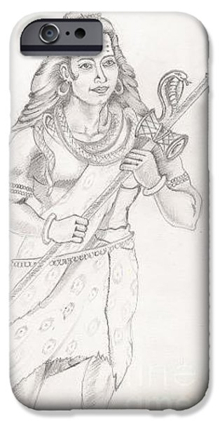Religious Drawings iPhone Cases - Destroyer of the Universe - Lord Shiva iPhone Case by Tanmay Singh