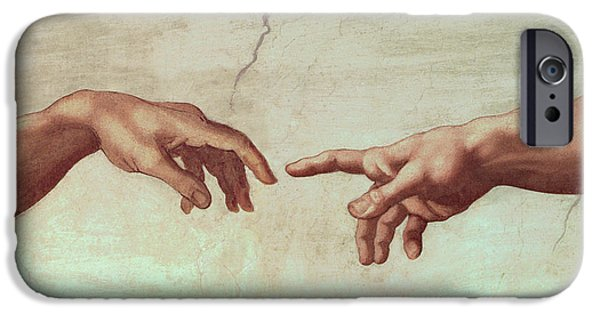 Testament iPhone Cases - Detail from The Creation of Adam iPhone Case by Michelangelo