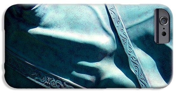 Monochrome Sculptures iPhone Cases - Detail Metal Horse Sculpture 10 iPhone Case by Tamara Kulish