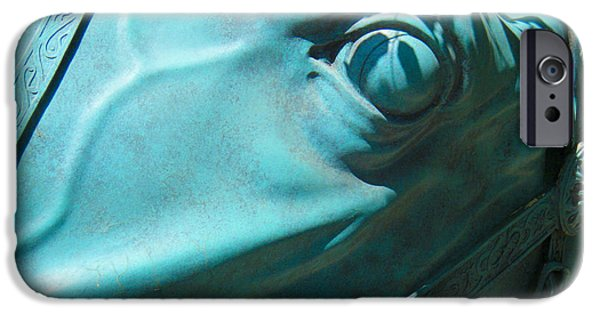 Monochrome Sculptures iPhone Cases - Detail Metal Horse Sculpture 11 iPhone Case by Tamara Kulish