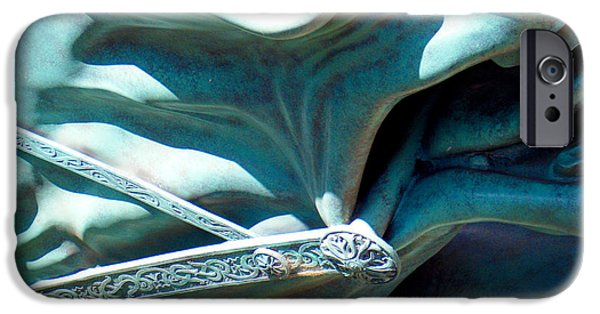 Monochrome Sculptures iPhone Cases - Detail Metal Horse Sculpture 9 iPhone Case by Tamara Kulish