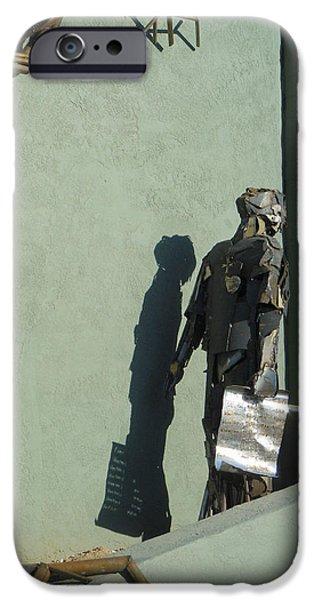 Monochrome Sculptures iPhone Cases - Detail Metal Sculpture 2 iPhone Case by Tamara Kulish
