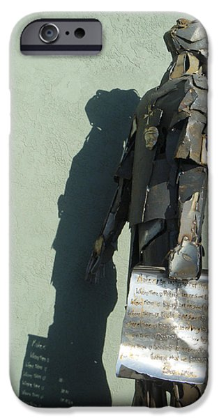 Monochrome Sculptures iPhone Cases - Detail Metal Sculpture 3 iPhone Case by Tamara Kulish