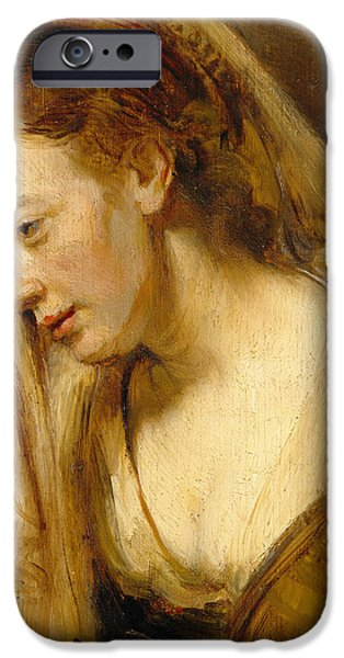 Sadness Paintings iPhone Cases - Detail of A Weeping Woman iPhone Case by Rembrandt