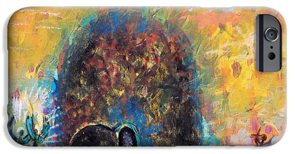 Metaphysical Paintings iPhone Cases - Detail of Empty Tomb iPhone Case by Anne Cameron Cutri