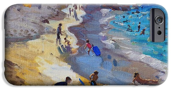 Sandcastles iPhone Cases - Detail of Overlooking Porthmeor beach St Ives iPhone Case by Andrew Macara