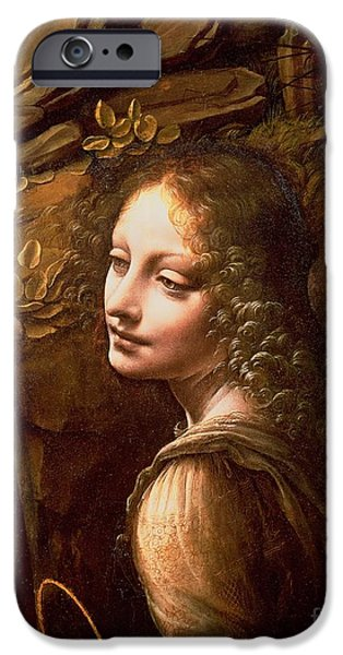 Cherub iPhone Cases - Detail of the Angel from The Virgin of the Rocks  iPhone Case by Leonardo Da Vinci