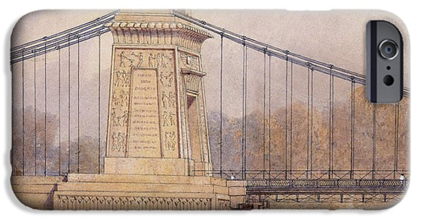River View Drawings iPhone Cases - Detail of the Approved Design for the Clifton Suspension Bridge iPhone Case by Samuel Jackson