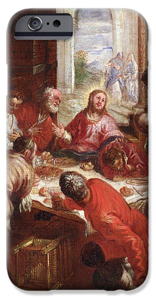 Disciples Paintings iPhone Cases - Detail of The Last Supper iPhone Case by Jacopo Robusti Tintoretto