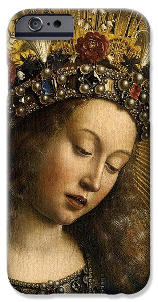 Virgin Mary iPhone Cases - Detail of the Virgin Mary from the Ghent Altarpiece iPhone Case by Van Eyck