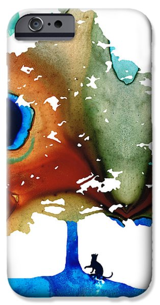 Determination - Colorful Cat Art Painting iPhone Case by Sharon Cummings