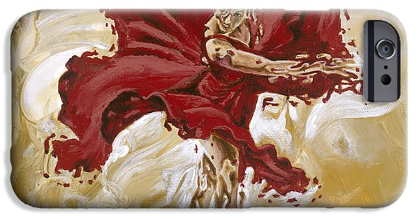 Dancing Girl Paintings iPhone Cases - Determination iPhone Case by Karina Llergo Salto