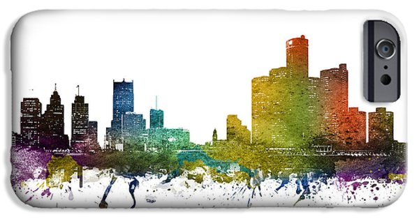 Colour Drawings iPhone Cases - Detroit cityscape 01 iPhone Case by Aged Pixel