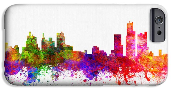 Detroit Digital iPhone Cases - Detroit Michigan skyline Color02 iPhone Case by Aged Pixel