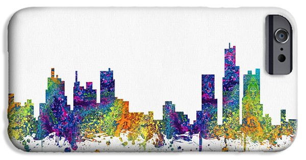 Detroit Digital iPhone Cases - Detroit Michigan skyline color03 iPhone Case by Aged Pixel