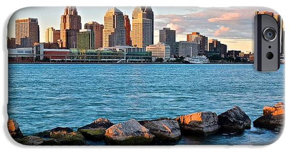 Inner World iPhone Cases - Detroit Panorama from Windsor iPhone Case by Frozen in Time Fine Art Photography