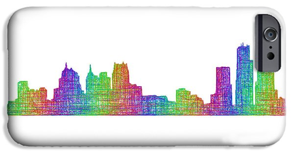City Scape Drawings iPhone Cases - Detroit skyline iPhone Case by David Zydd