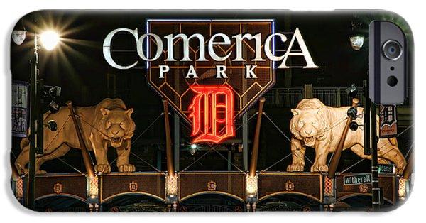 Bat Digital Art iPhone Cases - Detroit Tigers - Comerica Park iPhone Case by Gordon Dean II