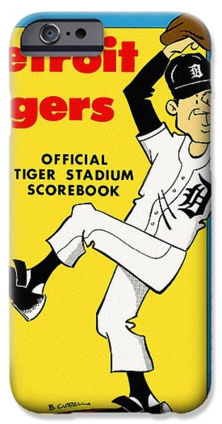 Detroit Tigers Baseball Art iPhone Cases - Detroit Tigers 1971 Scorebook iPhone Case by Big 88 Artworks