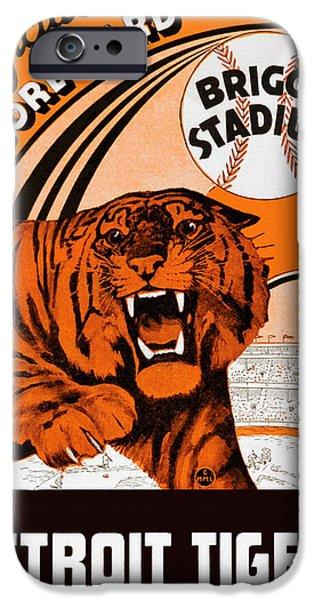 Detroit Tigers Baseball Art iPhone Cases - Detroit Tigers Briggs Stadium Vintage Scorecard iPhone Case by Big 88 Artworks