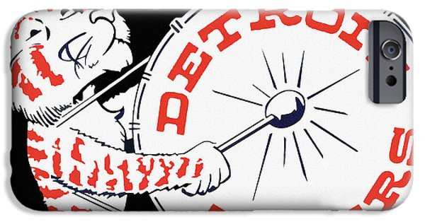 Detroit Tigers Baseball Art iPhone Cases - Detroit Tigers Vintage Drum Poster iPhone Case by Big 88 Artworks